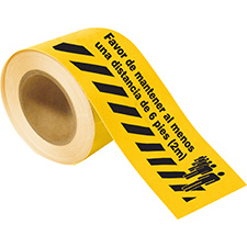 Favor De Mantener Al Menos Una Distancia De 6 pies 2M Floor Tape Strips (Each pre-cut roll contains 65 (sections)