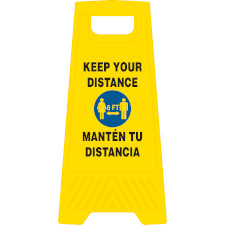 Bilingual Keep Your Distance Heavy Duty Floor Stand
