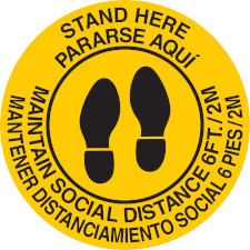 Bilingual Stand Here Social Distance Floor Marker