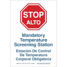 Bilingual Mandatory Temperature Screening Station Sign