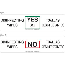 Bilingual Disinfecting Wipes In Stock Sign