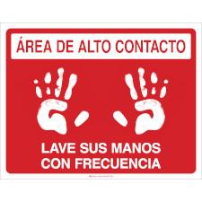 Area De Alto Contacto Lave Sus Manos Con Frecuencia Floor Marker