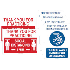 Restroom Social Distancing Signs Kit