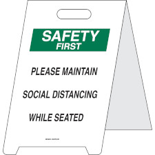 """Please Maintain Social Distancing While Seated Floor Sign   """