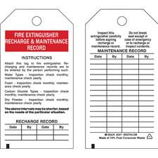 fire extinguisher inspection tag template - brady part 65371 fire extinguisher recharge