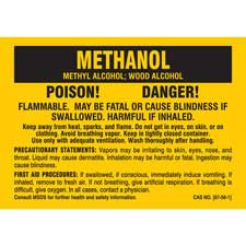 Label Polyester Black On Yellow 3 5 In H X 5 In W Methanol Poison Danger Flammable May Be Fatal Or Cause Blindness If Swallowed Harmful If I