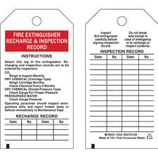 Brady part 76222 fire extinguisher recharge for Fire extinguisher inspection tag template