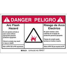 brady part 99457 danger peligro bilingual arc flash labels danger. Black Bedroom Furniture Sets. Home Design Ideas