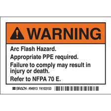 brady part el 1 warning arc flash warning labels. Black Bedroom Furniture Sets. Home Design Ideas