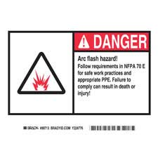 brady part el 3 danger arc flash danger labels. Black Bedroom Furniture Sets. Home Design Ideas