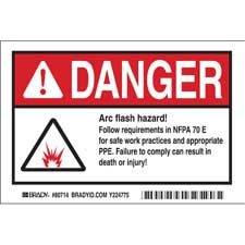 brady part el 4 danger arc flash danger labels. Black Bedroom Furniture Sets. Home Design Ideas