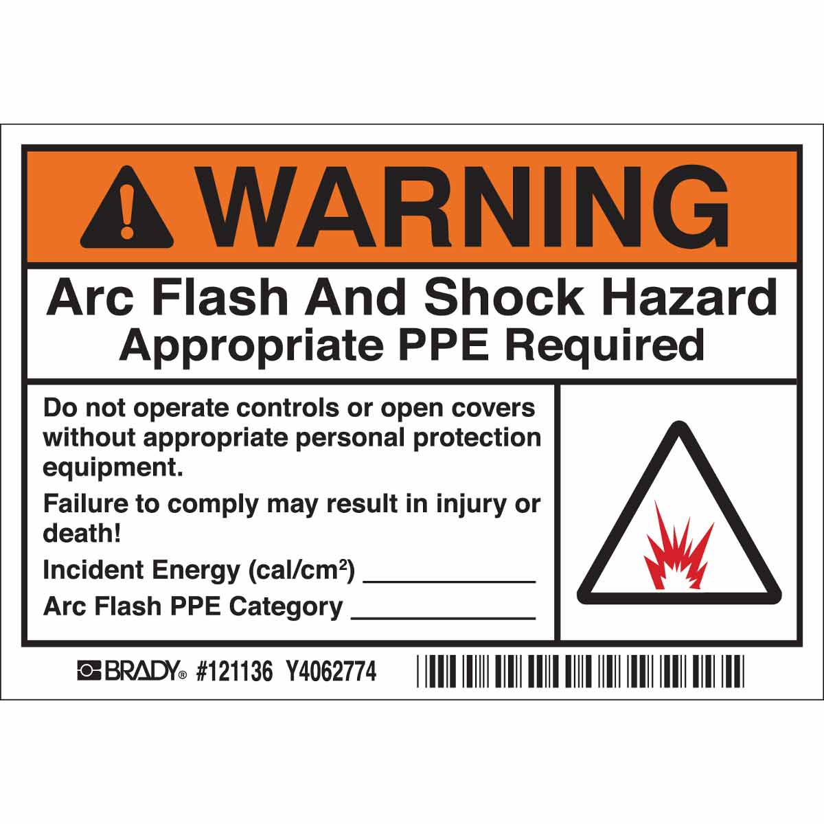 This is a photo of Juicy Arc Flash Warning Label
