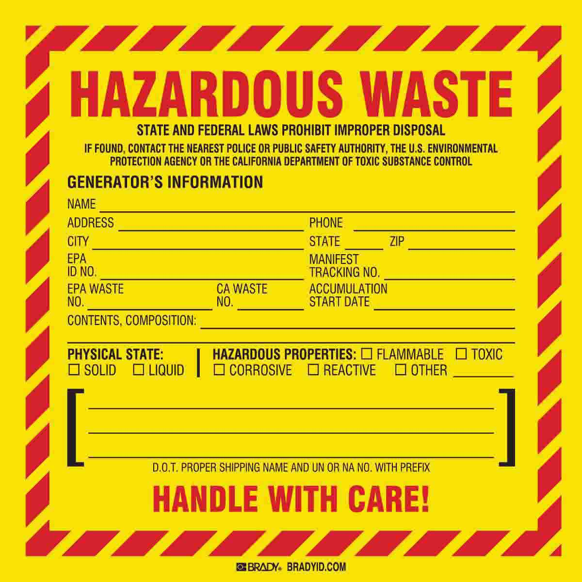 Brady Part 121152 Hazardous Waste Federal And Or State