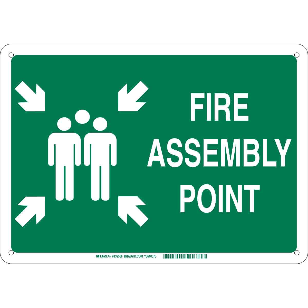 brady part 139588 fire assembly point sign. Black Bedroom Furniture Sets. Home Design Ideas