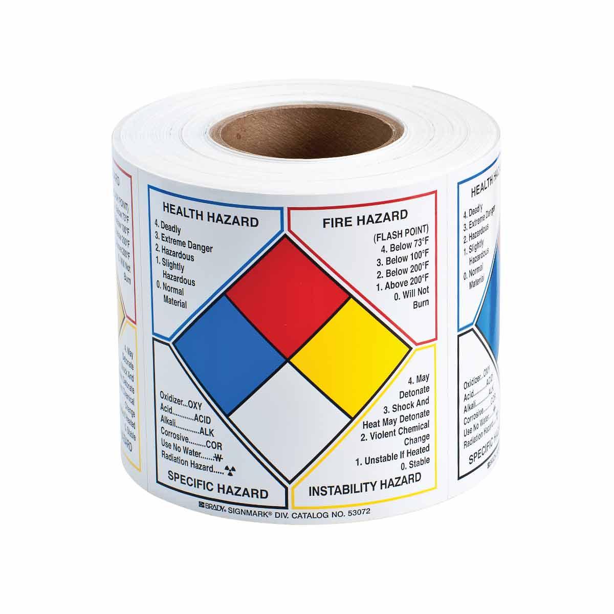 Hazardous Material Diamond: Write-on NFPA Diamond Labels