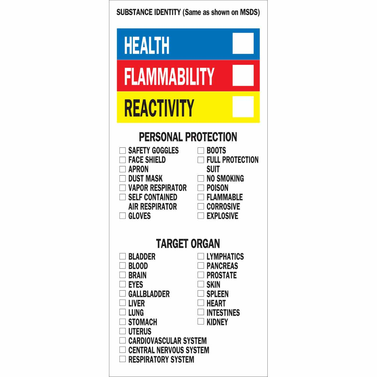 This is a picture of Monster Health Flammability Reactivity Labels
