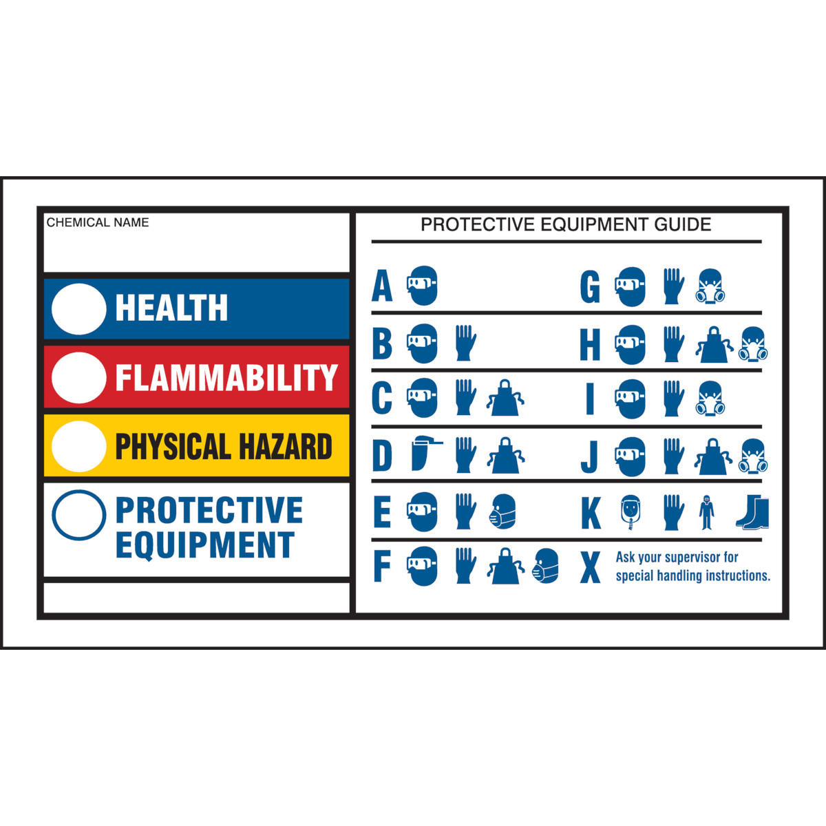It is a photo of Striking Health Flammability Reactivity Labels
