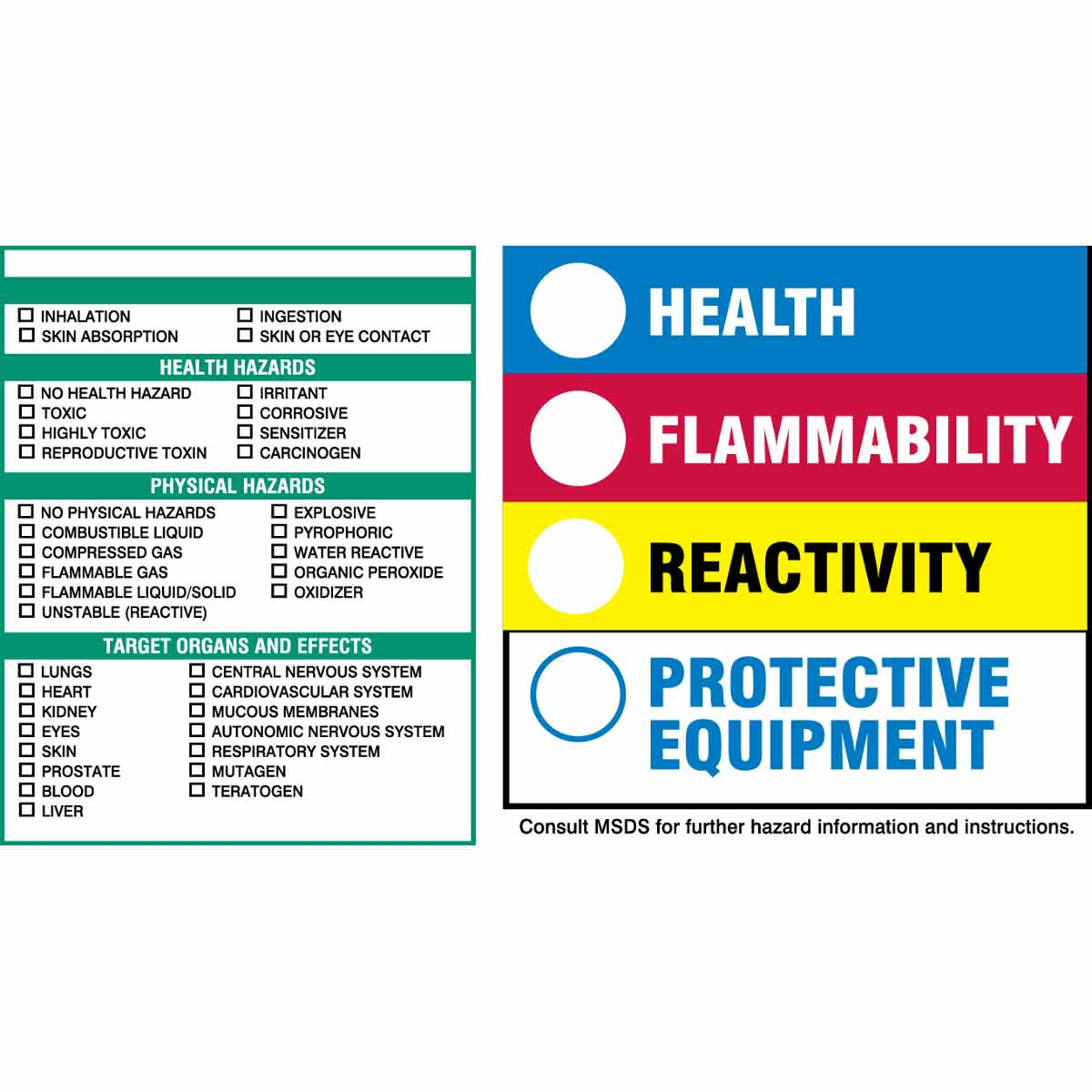 It is a graphic of Hilaire Health Flammability Reactivity Labels