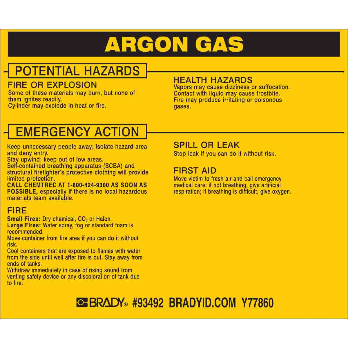 Brady Part 93492 Argon Gas Labels Bradyid Com