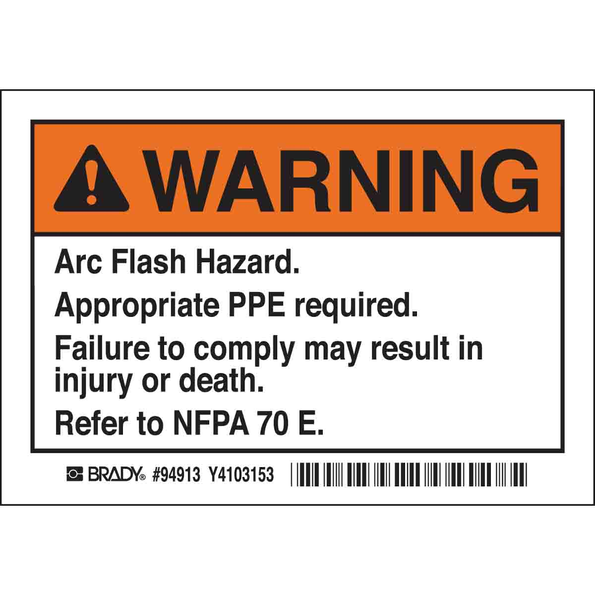 This is a picture of Simplicity Arc Flash Warning Label